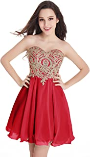 Babyonline Junior's Gold Lace Applique Short Quinceanera Homecoming Dresses