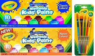 Crayola Washable Kids Paint, Set of 20 Bottles, 10 Classic Colors and 10 Neon Colors, 2-ounce Bottles, Bundled with a Crayola 5-count Assorted Brush Set and Random 4-Pack of Crayola Crayons