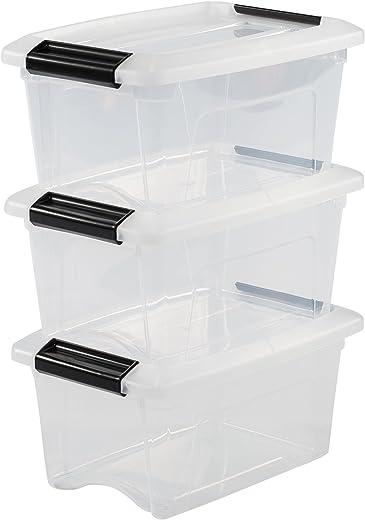 Iris Ohyama 3er-Set, Aufbewahrungsboxen, 5 L, mit Clips, stapelbar, Wohnzimmer, Schlafzimmer, Garage – New Top Box NTB-5 – Transparent