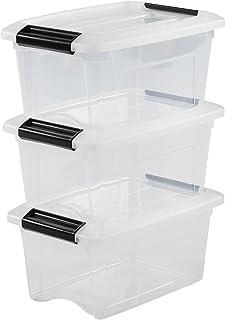Iris Ohyama 103424 Lot de 3 boîtes de Rangement empilables-New Top Box NTB-5, Plastique, Transparent, 5 L