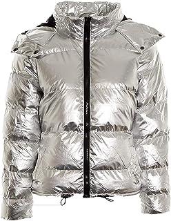 Vieliring Abrigo ligero para mujer, resistente al agua, ligero, con capucha, metálico, para fiestas