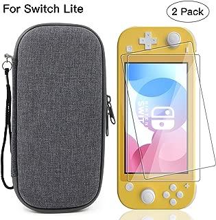Nintendo Switch lite ケース+ Switch Lite ガラスフィルム(2枚セット) Nintendo switch lite カバー ニンテンドースイッチライト収納バッグ スタンド機能付き 防塵 防水 耐衝撃 小物収納 軽量 持ち運び便利 全面保護カバー(灰色)