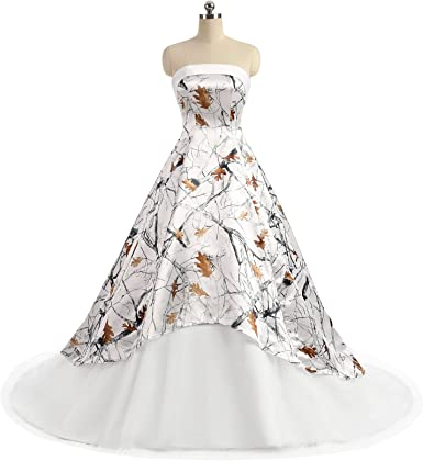 Ilovewedding White Camo Wedding Dress For Bride Strapless A Line Formal Gowns At Amazon Women S Clothing Store