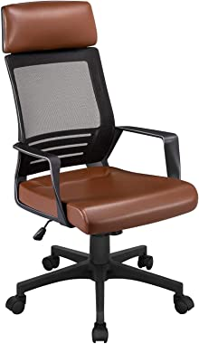YAHEETECH Mesh & Leather Desk Chair with Lumbar Support, Ergonomic Adjustable Executive Chair for Office, Bedroom Brown