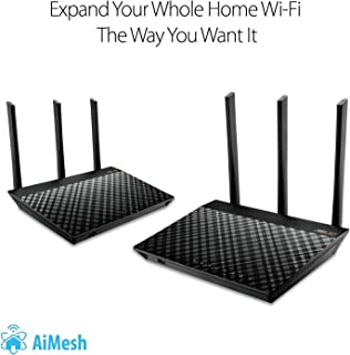 ASUS AC1900 Dual Band Whole Home Mesh Wi-Fi System for Large and Multi-Story Homes, Wired Inter-Router Connections, Aiprot...