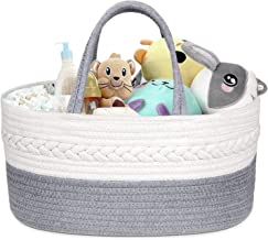 Newthinking Baby Diaper Caddy Organizer with Compartment, Soft Diaper Basket Made of Hand-Woven Rope, 100% Natural Cotton,...