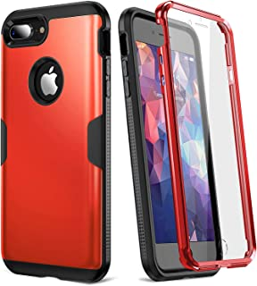 YOUMAKER Case for iPhone 8 Plus & iPhone 7 Plus, Full Body Rugged with Built-in Screen Protector Heavy Duty Protection Slim Fit Shockproof Cover for Apple iPhone 8 Plus (2017) 5.5 Inch - Red