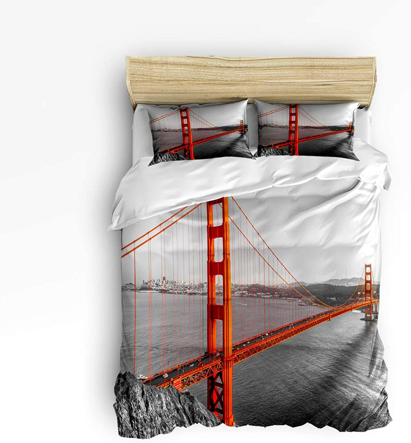 USOPHIA Queen Size, 4 Pieces Bed Bed Bed Sheets Set, San Francisco