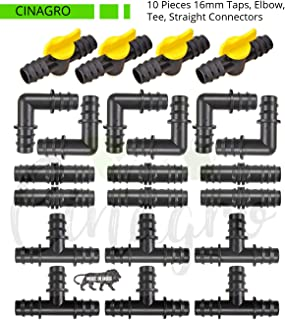 CINAGRO® - 16mm Drip Irrigation Pipe Fittings, Accessories, Elbows, Tee, Straight Connectors, Taps (10 Pieces Each, Total ...