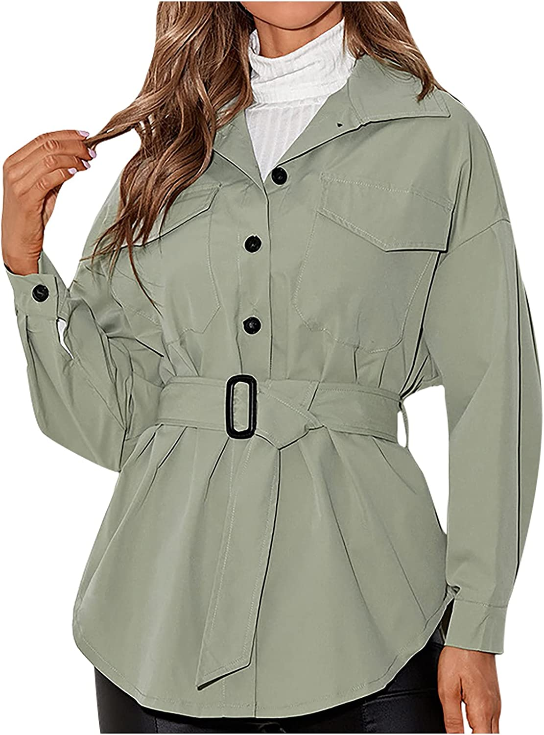 CofeeMO Womens Solid Color Coat Button Down Casual Loose Tops Blouse Shirt Slim Lapel Blouse with Belt