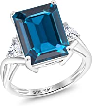 Gem Stone King 10K White Gold Solitaire w/Accent Stones Ring Emerald Cut London Blue Topaz and Timeless Brilliant Created Moissanite (IJK) 0.46ct (DEW)