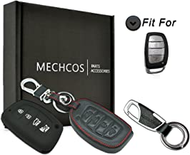 MECHCOS Compatible with fit for 2018 2017 2016 Hyundai Tucson Elantra Sonata Smart 4Buttons Leather Keyless Entry Remote Control Smart Key Fob Cover Case Protector Shell (NOT FIT Flip/Pop Out Key
