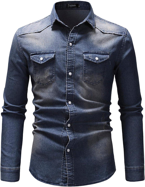FUNEY Men's Casual Cotton Cowboy Denim Shirt Snap Button Up Standard-Fit Fall Long Sleeve Casual Slim Fit Work Shirts