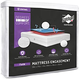 Degrees of Comfort Premium Waterproof Mattress Encasement Twin Size Fitted 6-9' Inch | Zippered Deep Pocket, Organic Cotton Cover, 3M Scotchgard Stain Resistant | Hypoallergenic Protector