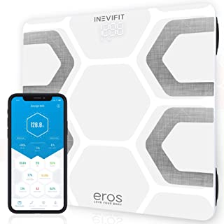 INEVIFIT EROS Bluetooth Body Fat Scale Smart BMI Highly Accurate Digital Bathroom Body Composition Analyzer with Wireless Smartphone APP 400 lbs 11.8 x 11.8 inch (White)