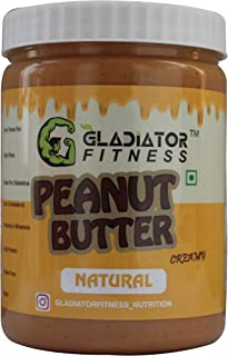 Gladiator Fitness™ Natural Peanut Butter | 30g High Protein | Zero Cholesterol | Vegan | Gluten Free (1Kg, Creamy)