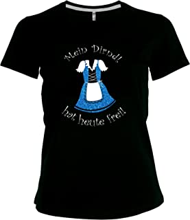 BlingelingShirts Elegantes Shirt Oktoberfest Glitzeraufdruck Damen Wiesn Spruch Mein Dirndl hat Heute frei