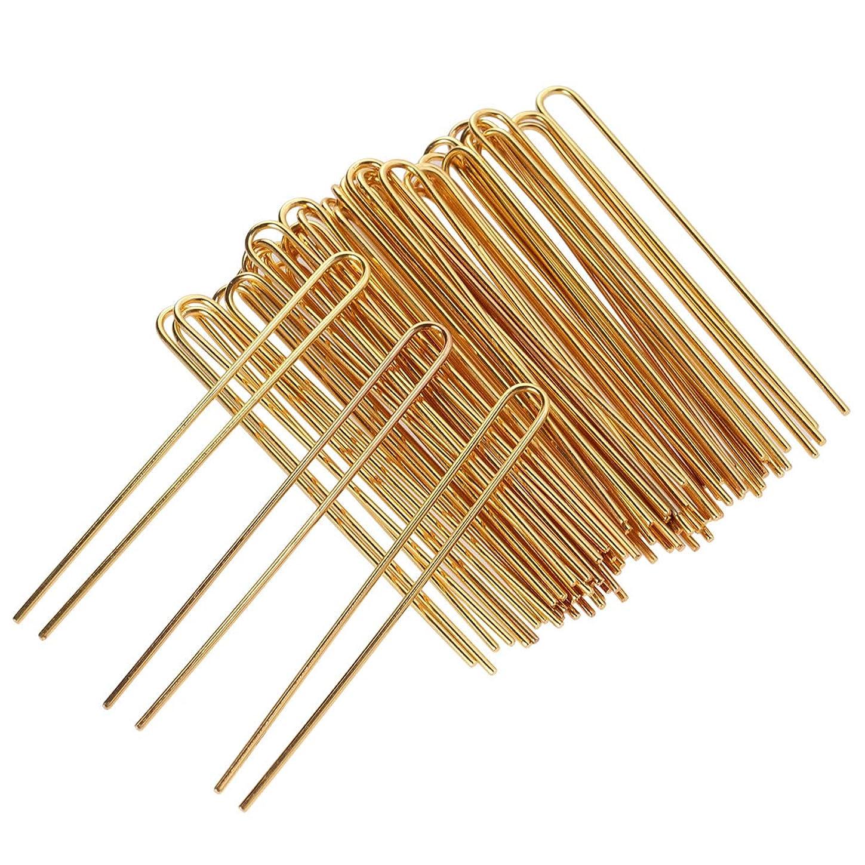 テーブルを設定する卑しい深遠SUPVOX 50個U字型ヘアピンヘアフォーク女性用ヘアクリップスティック女性用ヘアアクセサリーDIY Craft(Golden)