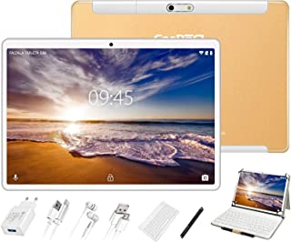 GOODTEL Tablet 10 Pulgadas Tablet 4GB de RAM, 64GB de Memoria Interna, Escalable 128GB, Quad-Core, Dual SIM 8000mAh Batería Bluetooth WiFi GPS Cámara Dual, Type-C Tablet Oro