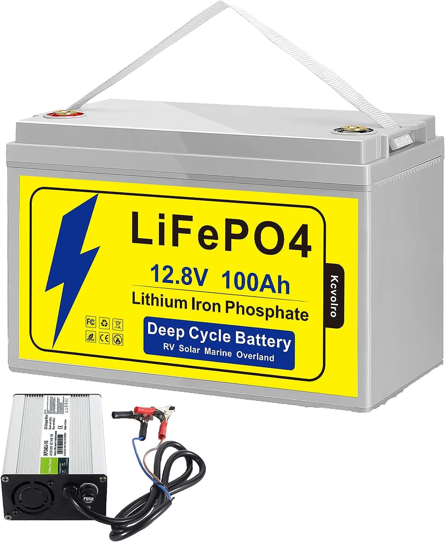 Kcvolro LifePo4 Battery 12v 100Ah Up 格安 価格でご提供いたします to Built- 7000 Deep Cycles 人気急上昇