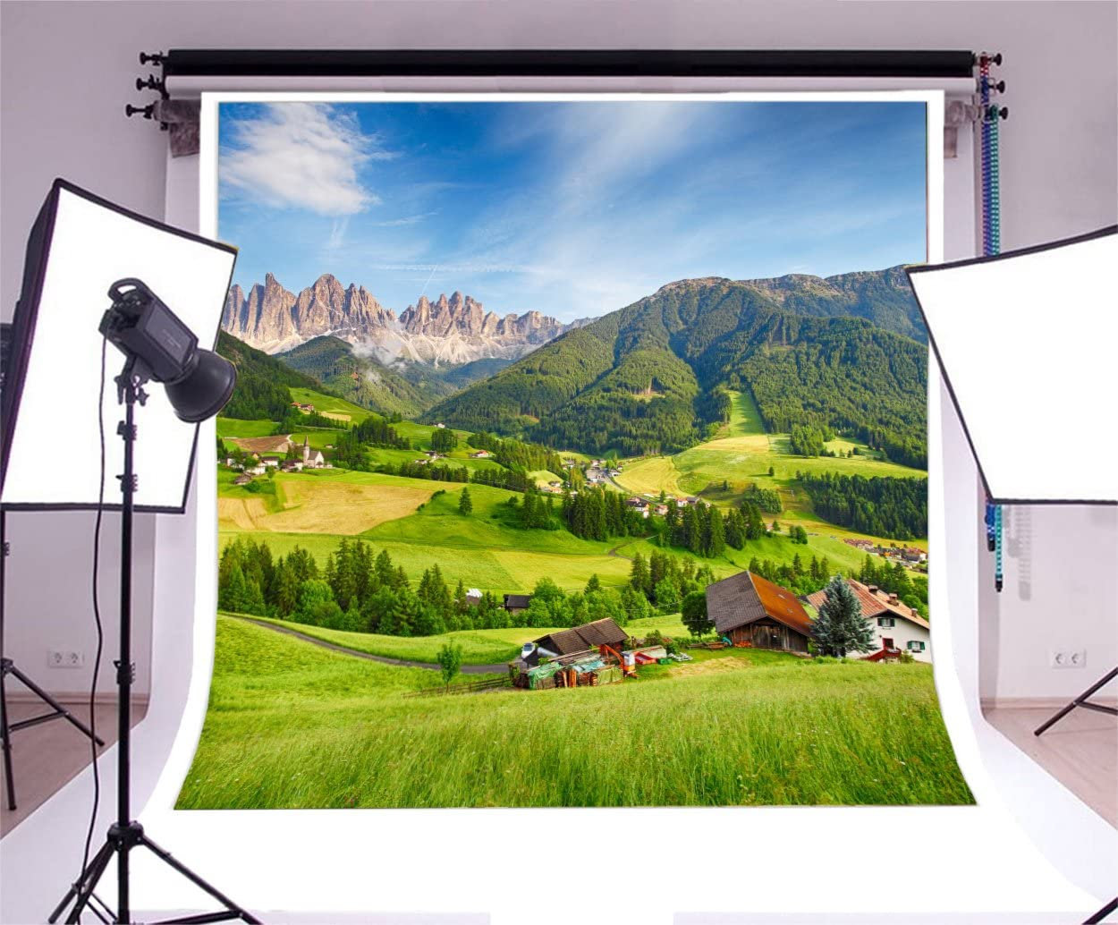 8x6.5ft Tranquil Hillside Small Village Green Mountains Polyester Photography Background Spring Scenic Backdrop Child Adult Portrait Shoot Birthday Party Banner Landscape Wallpaper Studio