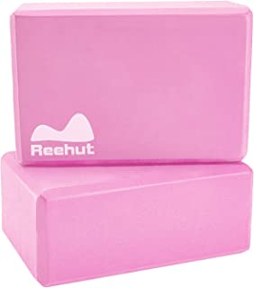 REEHUT Yoga Block 1-PC/ 2-PC, High Density EVA Foam Blocks to Support and Deepen Poses, Improve Strength and Aid Balance and Flexibility - Lightweight, Odor Resistant
