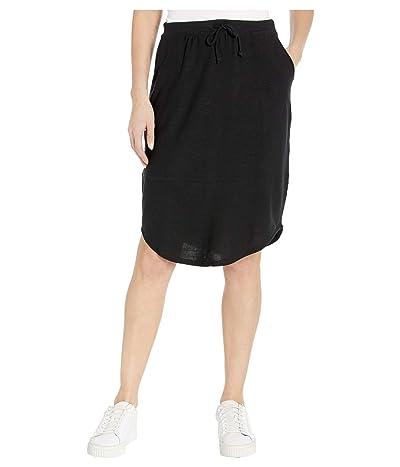 Chaser Cozy Knit Shirttail Midi Skirt (True Black) Women