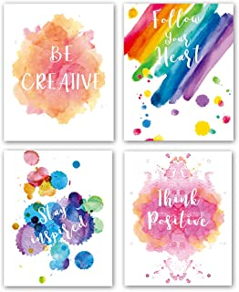 "Abstract Watercolor Art Print Set of 4 (8""X10""Modern Minimalist Printing, Inspirational Phrases Quote Home Wall Art, Motivational Canvas Wall Art Poster for Office Classroom, No Frame"