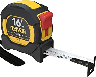 LEXIVON 16Ft/5m DuaLock Tape Measure | 1-Inch Wide Blade with Nylon Coating, Matt Finish White & Yellow Dual Sided Rule Print | Ft/Inch/Fractions/Metric (LX-207)