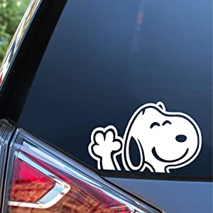Sunset Graphics & Decals Snoopy Waving Hi Decal Sticker Car Vinyl   Cars Trucks Vans Walls Laptop Computer   White   6 inches   SGD000177