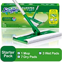 Swiffer Sweeper Cleaner Dry and Wet Mop Starter Kit for Cleaning Hardwood and Floors, Includes: 1 Mop, 7 Dry Cloths, 3 Wet Cloths