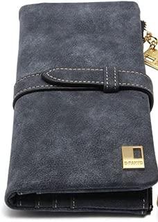 Women Dark Blue or Brown Zipper Wallet Suede Leather Clutch (Black)