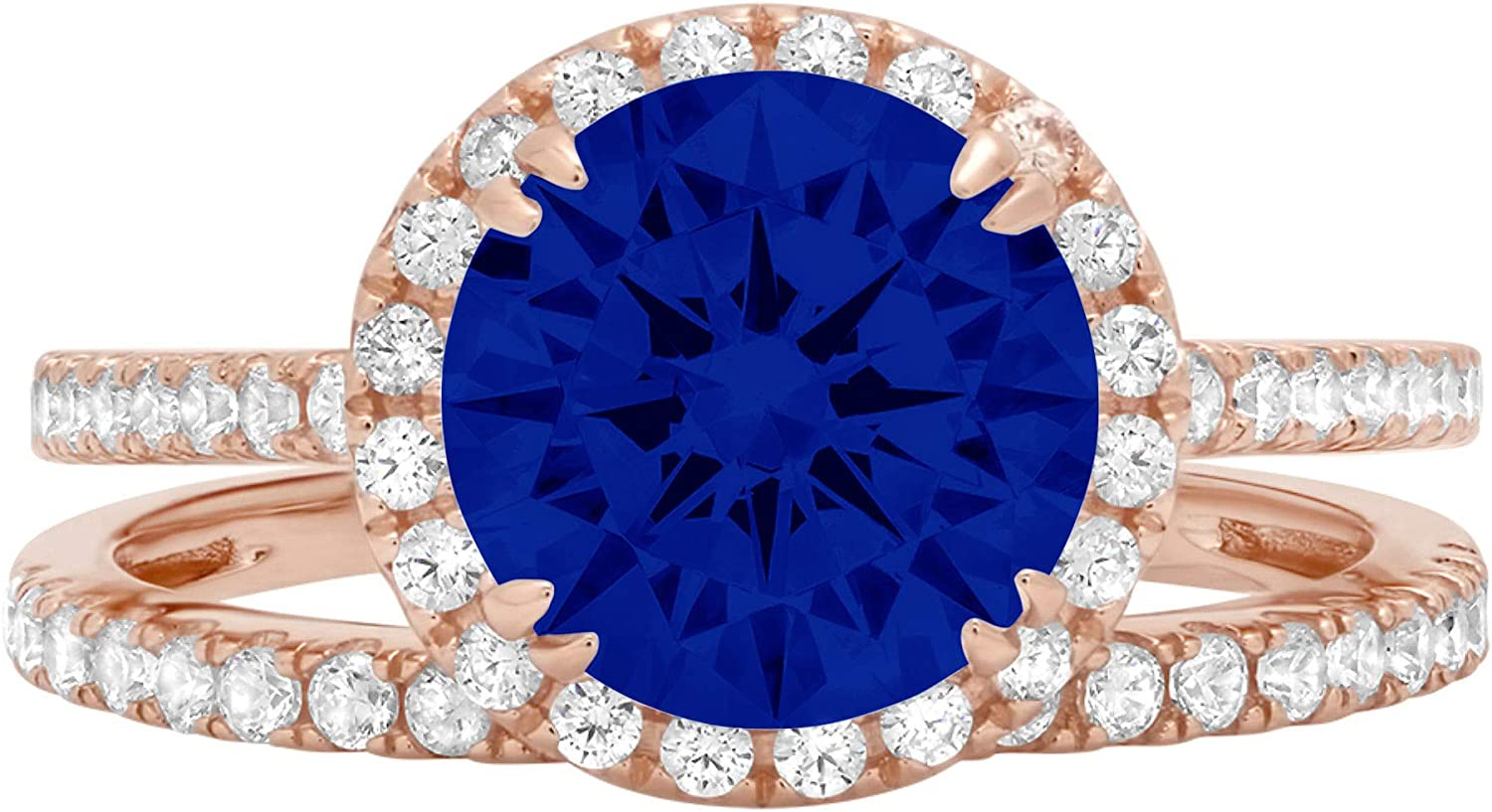 2.66ct Round Cut Halo Pave Solitaire with Accent Ideal Flawless Simulated CZ Blue Sapphire Engagement Promise Designer Anniversary Wedding Bridal ring band set 14k Rose Gold