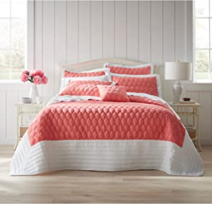 BrylaneHome Nantucket Quilted Bedspread - King, Soft Coral