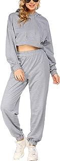COOrun Joggingpak dames vrijetijdspak 2-delig sportpak trainingspak met zakken capuchon lange mouwen lange broek sportswear