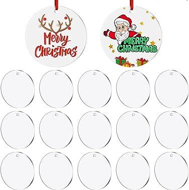 30 Pieces 2.75 Inch Acrylic Christmas Ornament Acrylic Circle Disc Ornament DIY Blank Clear Christmas Round Acrylic Ornament