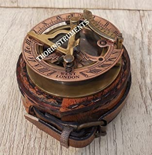 THORINSTRUMENTS (with device) Brass Sundial Compass - Pocket Sundial -Brass Antiques West London TH08895