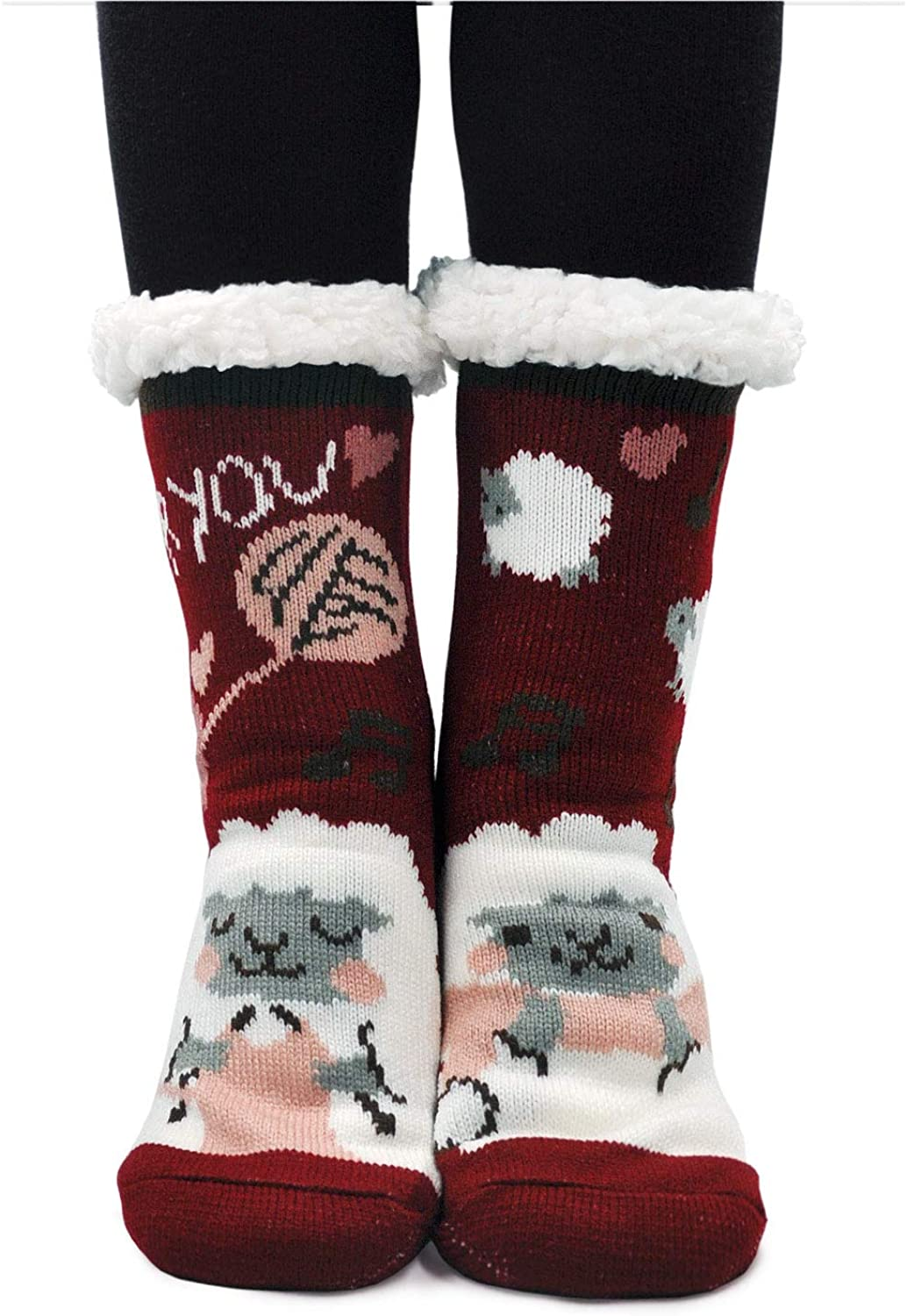 Womens Winter Slipper Socks,Cute Cartoon Animal Fleece-lined Christmas Socks with Grippers,Non-slip Home Socks
