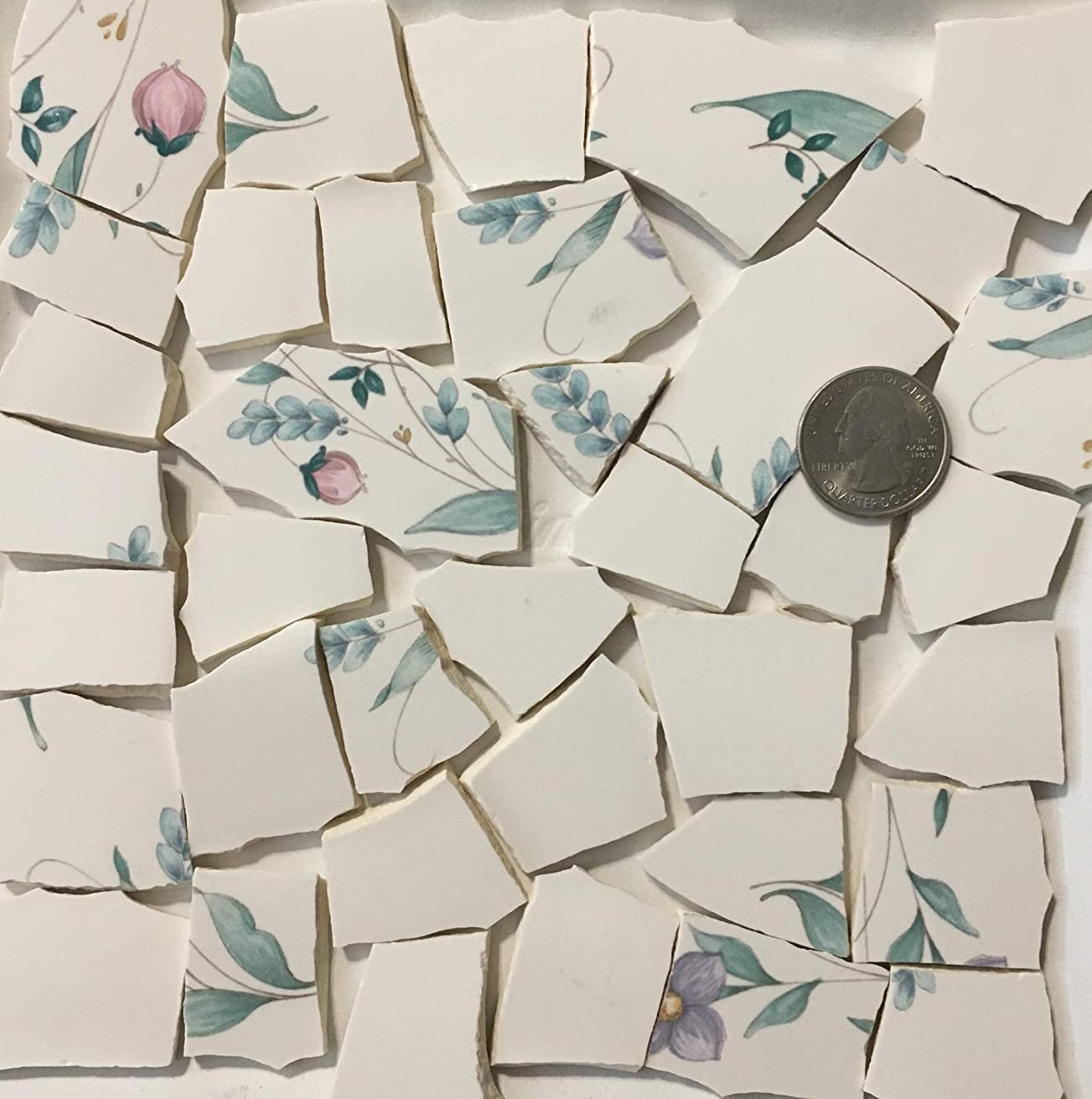 Mosaic Art & Crafts Supply ~ Pink & Purple Flowers Green Leaf w/White Tiles (B795)