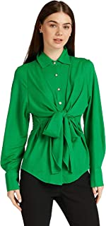 Iconic Women's 2091028 SS23FRTKNTSH Knitted Polo Shirt, Green