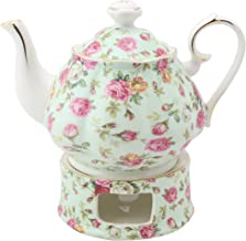 Grace Teaware Porcelain 5-Cup Rose Chintz Teapot With Warmer 2-Piece Set (Blue Cottage)