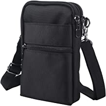 Crossbody Cell Phone Bags w/RFID Blocking-Casual Water Resistant Nylon Fanny Pack/Waist Phone Purse Pouch fits iPhone 6 iPhone 6/6S,6Plus/6S Plus,iPhone X/XS, Note 5,Note 4,Galaxy S7,S7 Edge (Black)