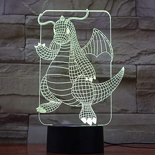 Lampara LED Pokémon Dragonite Cambia Color USB Luz Nocturna