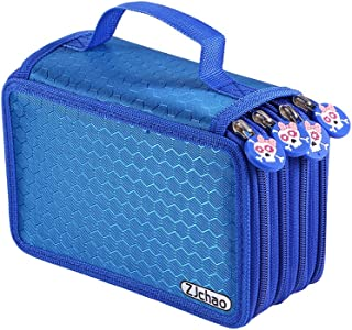 ZJchao 72 Count Slot Colored Pencil Carry Case Bag Large Capacity Oxford Multi-Layer Pencil Organizer with Cute Zipper(Blue)
