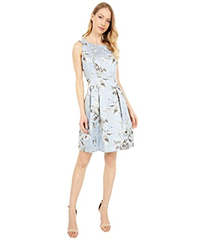 Vince Camuto Jacquard Sleeveless Fit-and-Flare (Sky Blue) Women