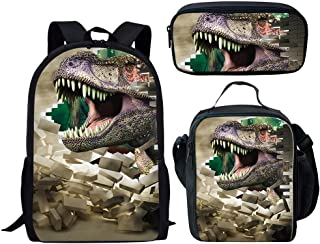 Children Dinosaur Backpack Set 3D Animals School Bookbag with Lunch bag Pencil Case Waterproof Schoolbag for 6-12 years ol...