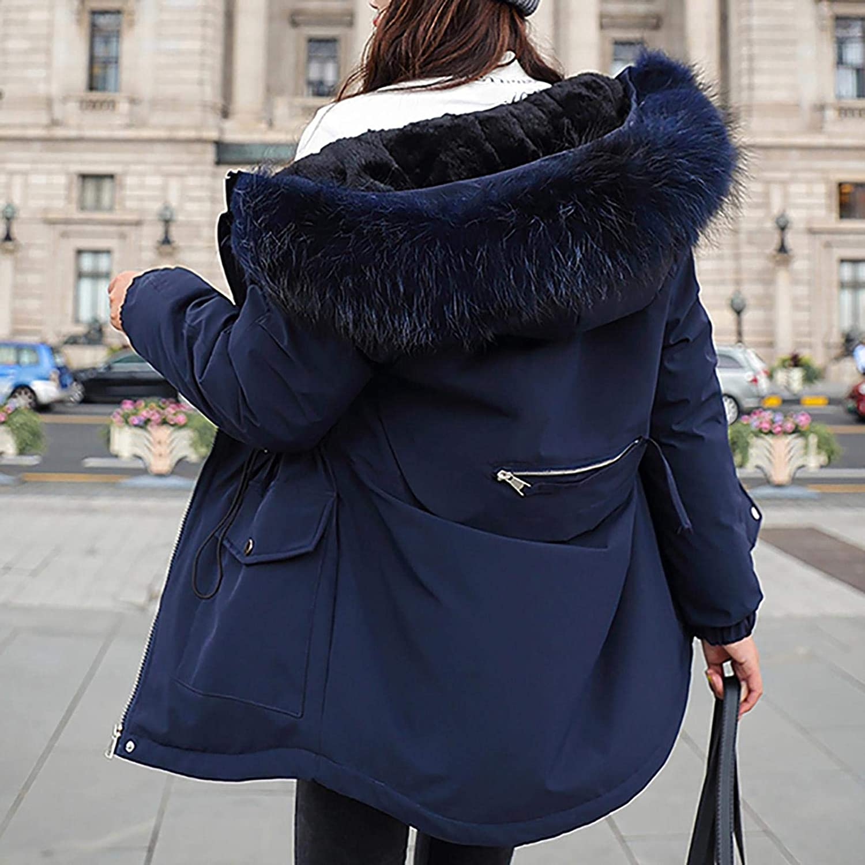 Grizy Damen Winter Atmungsaktiv Daunenmantel, Winddicht Mantel Winterparka Casual Mantel Jacke mit Kapuze Dunkelblau