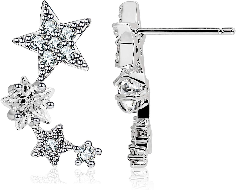 D-DANGLE Star CZ Simulated Diamond Stud Earrings Climber Earrings Ear Cuff Earring 1Pair Hypoallergic