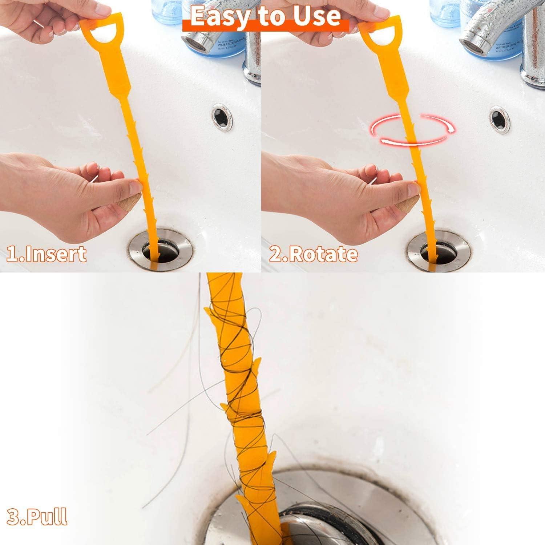 Buy Yoleto 6 Pack Drain Clog Remover Unclog Shower Bathtub Sink Cleaner Stick Household Cleaning Tools Hair Catcher 20 Inch Orange Online In Vietnam B08krghvx5