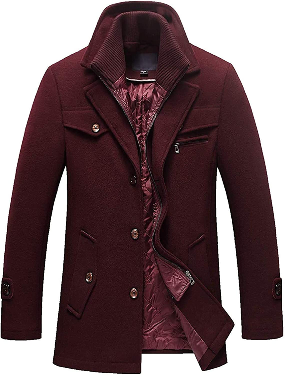 Hoolep Men's Gentle Layered Collar Single Breasted Quilted Lined Wool Blend Pea Coats
